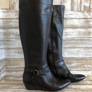 Joan & David Yvet Brown Leather Knee High Boots.